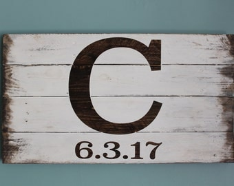 Distressed Last Name initial Wedding Date Sign Made from Pallet Wood Wall Decor/Wedding Guest Book