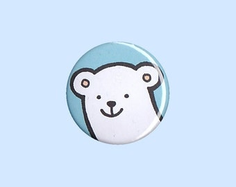 Polar Bear Badge - polar bear pin, polar bear button, kid's button, children's badge, cute button