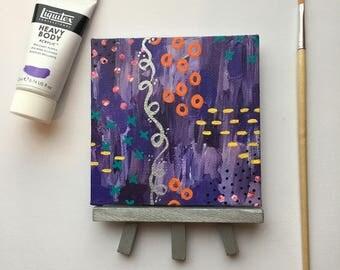 Original Art, Miniature Art, Mini Painting, Abstract Painting, Abstract Art, Purple Art, Original Painting