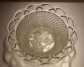 Imperial Glass Lace Edge Clear Decorative Bowl, Criss Cross Diamond Pattern, Rose Design in Center, Collectible