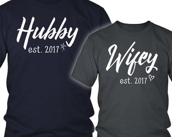 Hubby Wifey Shirt - His and Her Shirt - Husband Wife Shirt - Honeymoon Shirt - Hubby and Wifey Shirt - Cute Matching Couple Shirt - Newlywed