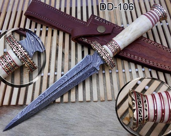 "12.2"" Long Damascus Dagger hand forged Knife 6.2"" dual edge very exotic camel bone scale crafted with engraved brass work and fiber spacing"