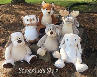 Birth Announcement Stuffed Animal, Personalized Adoption Gift, Personalized stuffed Animal, Subway Art, Moose, Fox, Bear, Bunny, Owl, Dog