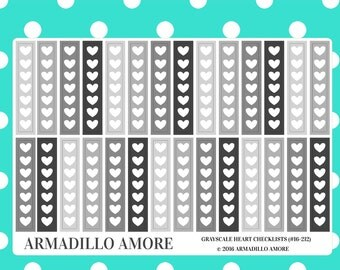 Grayscale Heart Checklists {28 Fancy Matte or Glossy Planner Stickers, Neutral Theme} | #16-212