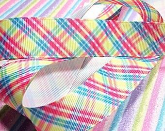 Plaid neon ribbon