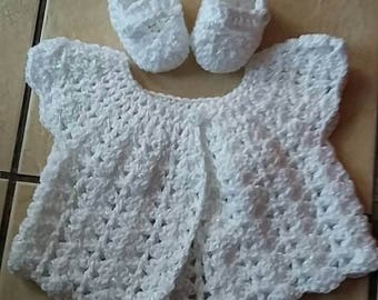 baby girl cardigan and shoes 0-3 mths