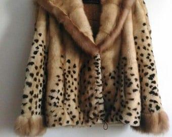 Fur mink and Marten Real mink and marten fur coat