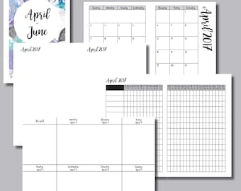 CAHIER Size: APRIL - JUNE 2017 Week on 2 Pages (Monday Start) Vertical Travelers Notebook Insert