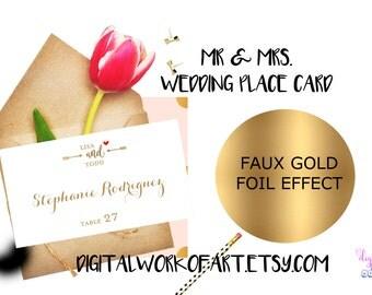 Wedding Place Card Template, Gold, Printable Escort Card, DIY Rustic Wedding, Table Card, Reception Card, Editable PDF Template,Calligraphy