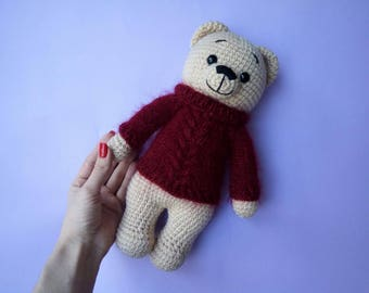 Crochet Amigurumi Cuddly Bear Toy,Crochet Amigurumi Bear Stuffed Toy, Crochet Bear, Teddy Bear, Teddy Bear Toy, Crochet Bear, Handmade Bear