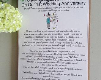 First Wedding Anniversary Card - 1st Wedding Anniversay - On Our Wedding Anniversary - To my husband - To My Wife