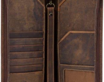 VISCONTI Leather Travel Wallet - Oil TAN - Wing - Passport Cover - Passport Holder - Travel Document Holder - Premium Leather