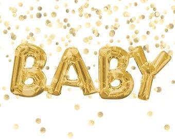 "26"" Baby Balloon, Gold Foil Balloon, Baby Script Balloon, Baby Shower Decor, Baby Shower Photo Prop, Baby Announcement, Balloon Garland"