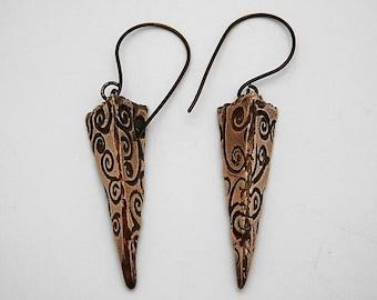 Bronze Clay Elongated Pyramid Dangle Earrings
