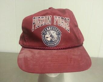 Vintage 90's Pigeon Forge Maroon Red Slide Zip Back Dad Hat Tourist Cap