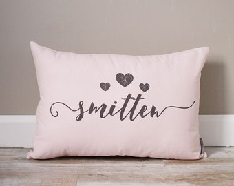 Smitten Pillow | Monogrammed Valentine's Gift | Gifts For Her | Valentine's Day Gift | Rustic Decor | Holiday Decor | Monogrammed Pillow