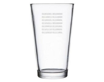 I speak Binary Glass, computer geek gifts, Binary language gift, Programmer gifts, Hacker gift, Computer nerd gifts, Binary pint rocks glass