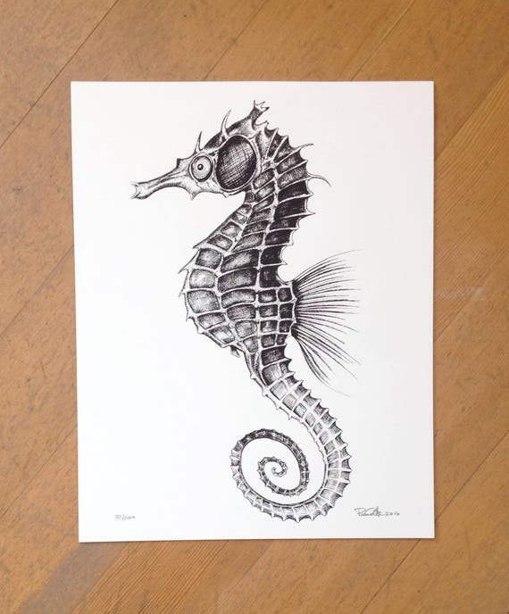 Seahorse hand printed on 100% cotton paper