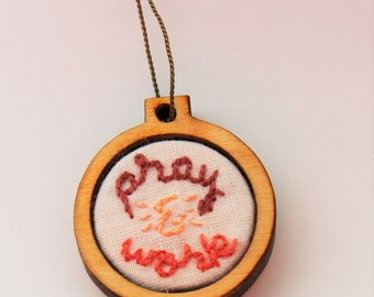 "Pray & Work Embroidery Hoop Necklace - 1"" - Catholic"