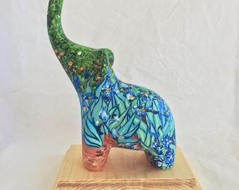 Van Gogh Irises Ceramic Elephant Fine Art Home Decor