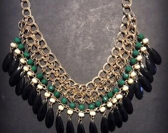 Bib Necklace / Bib Big Colorful Necklace / Statement Necklace / Green Necklace / Blue Necklace / Orange Necklace