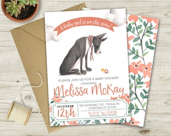 Great Dane Baby Shower Invitation (Multiple color options available)
