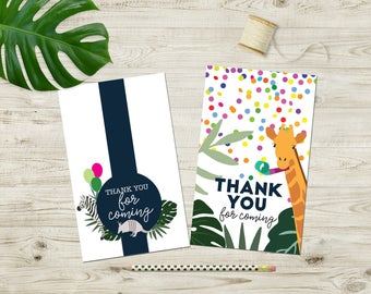 Party Animal Printable Favor Bag Tags / Thank You Cards