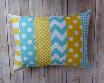 Aqua and Yellow Pillow, Striped Pillow, Nursery Decor, yellow, aqua, robbins egg blue, nautical, Chevron, Nursery Decor