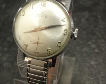 Vintage W DEVIS self wind watch with silver expandable bracelet