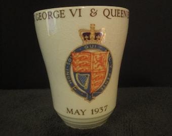 commemorative beaker king george v1 & queen elizabeth  1937 height =11cm