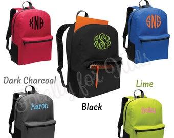Monogrammed Backpack Back to School Backpack Large Red Blue Green Charcoal Black Bookbag