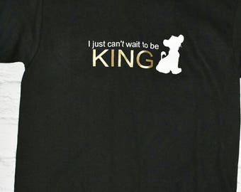 Boys lion King inspired shirt,  black, I just can't wait to be king