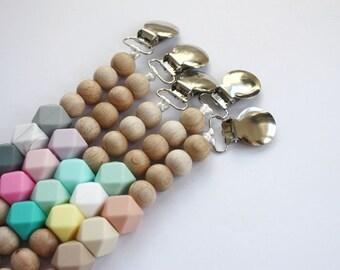 Silicone & Wood TRIXA Pacifier Baby Teether Holder Clip - Mordedor - Chupetero - Schnullerkette - Attache tétine - Portaciuccio Dummy chain