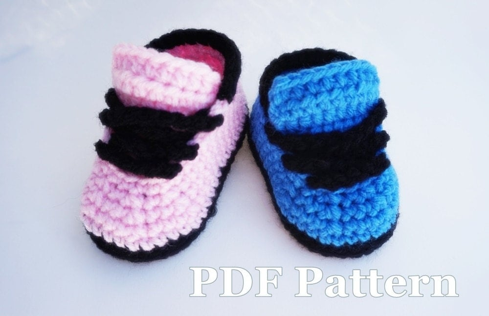 Crochet Pattern Baby Shoes Nike Style Shoes by JayKaySCrochet