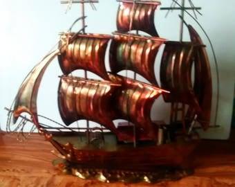 Copper Ship Music Box , Nautical Decor,Musical Copper Ship