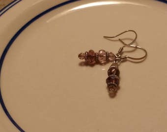 Pink, purple and silver glass sparkly two tier dangle earrings