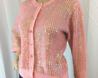 80s vintage pink knit cardigan with iridescent beaded sequins covering it size medium by Berek - raver eighties hippie rave club kid holo