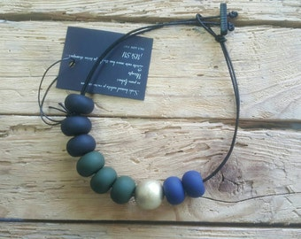 Polymer clay jewelry, beaded necklace, modern necklace, gift for her, handmade jewelry, olive green, navy, black, fimo, statement necklace