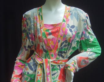 Leonard Paris Asian Theme Silk Jersey Belted Dress