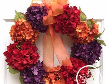 Hydrangea Wreath, Wreath, Door Wreath, Front Door Wreath, Wreath Street Floral, Spring Wreath, Summer Wreath, Year Round Wreath