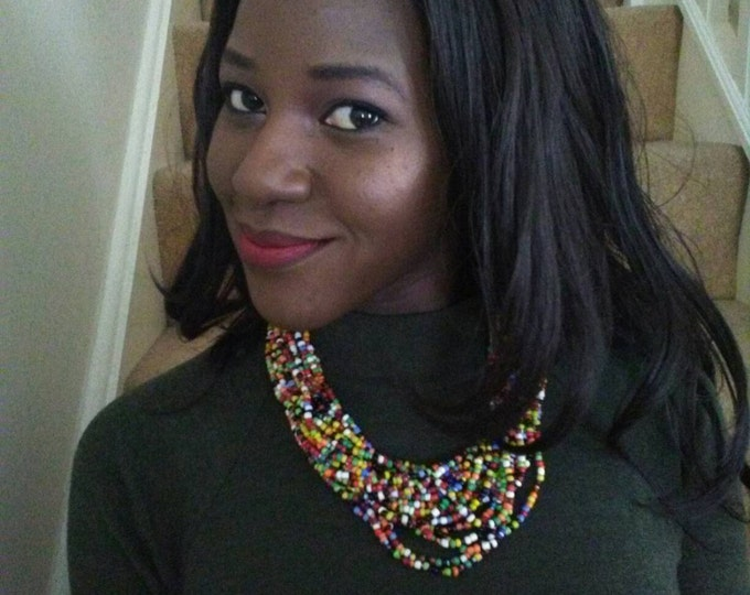 Beaded necklace, multicoloured, African necklace, African jewellery, choker, beads, necklace, women necklace, gift, tribal necklace