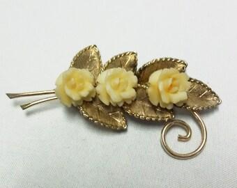 Vintage WINARD rose brooch 12k Gold Filled Carved Bone