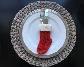 Knitted Christmas Stocking Silverware Holder PATTERN