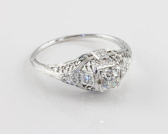 Vintage Edwardian Diamond Engagement Ring, 0.20 ct
