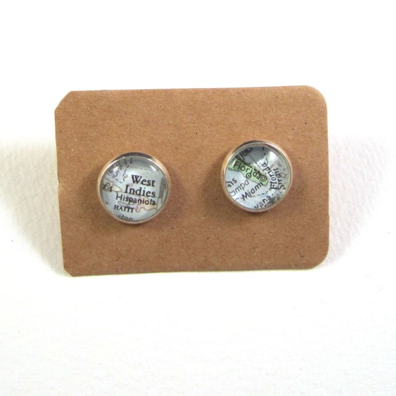 World map ear studs - America variations
