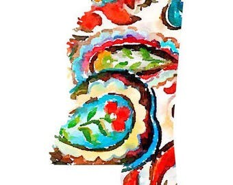 Colorful paisley state shape unframed prints
