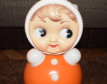 Sale/ 40 cm!!! Big Chubby Roly-poly toys Large Soviet Red Nevalyashka Vintage Celluloid children's tumbler Tilting doll USSR Soviet toy ''