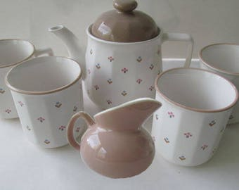 Vintage Seven-Piece Ceramic Tea Set - White with Pink,  Blue, Taupe, Mini Floral Teapot with Four Mugs & Creamer  -Perfect for Mother's Day!
