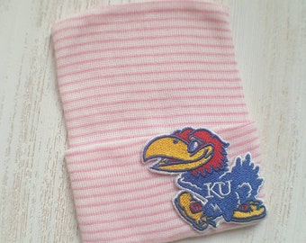 Newborn girl hospital hat- Kansas Jayhawks, baby girl hospital hat, pink hospital hat, KU baby hat, newborn hat, baby girl beanie