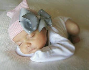 Newborn girl hospital hat- pink and grey baby hat, baby girl hospital hat, newborn  girl hospital hat, baby girl beanie, baby gift